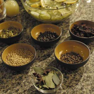 Assorted Herbs and Spices for Miss Flighty's Cucumber Spa Mixer